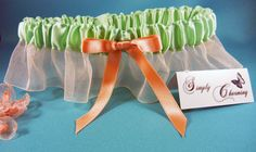 Mint Green and Coral Prom Garter