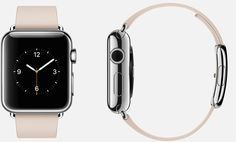 #Apple #Watch  38mm Case 316L Stainless Steel,  Sapphire Crystal Display, Ceramic Back,  Modern Buckle Soft Pink Leather, Stainless Steel Buckle
