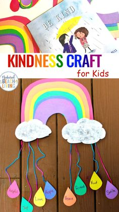 Kindness Crafts for Preschoolers - Rainbow Crafts - Natural Beach Living - If you are spending time Teaching Kindness to Kids the kindness ideas you'll find here are perfec - Kindness For Kids, Teaching Kindness, Kindness Activities, Kindness Ideas, Teaching Time, Spring Crafts For Kids, Projects For Kids, Kids Crafts, Arts And Crafts