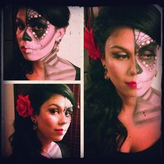 Halloween sugar skull makeup the glammmommy blogspot costume eyes half beauty half scary face makeup