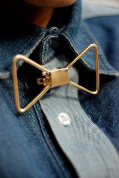 metal wire clip on bow tie, pinned by Ton van der Veer