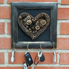 Key rack, Steampunk Decor, key holder for wall New home housewarming gift heart Steampunk furniture Earring Hanger, Jewelry Hanger, Hanging Jewelry, 3rd Wedding Anniversary, 1st Anniversary Gifts, Steampunk Furniture, Steampunk Heart, Turtle Gifts, Wall Key Holder