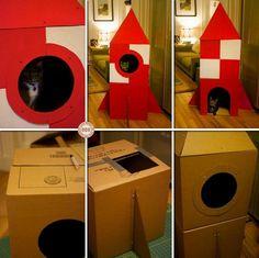 DIY Cardboard Cat Rocket - cute for a kid's room cat hangout!