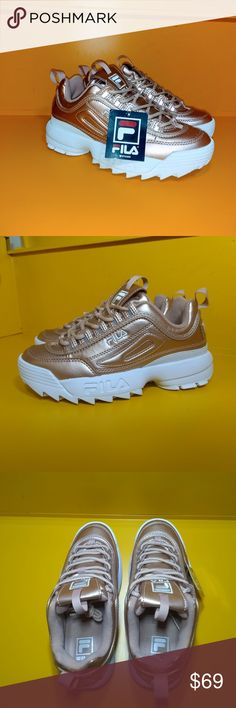 Fila Disruptor 2 Gold Metallic Premium Chunky 90's Sneakers Dope 10 9.5 Sold Out