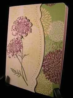 Rich Fields--Stamps: Field flowers, Betsy's blossoms    Paper: whisper white, floral district dsp    Ink: rich razzleberry, always artichoke, whisper white, daffodil delight    Accessories: piercer/essentials piercing pack, Big Shot/adorning accents embossing folders/adorning accents edgelits, corner rounder punch, dimensionals    Techniques: piercing, big shot, CAS