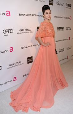 Fan Bing Bing in ELIE SAAB Haute Couture Spring Summer 2012 to the 21st Annual Elton John AIDS Foundation's Oscar Viewing Party.
