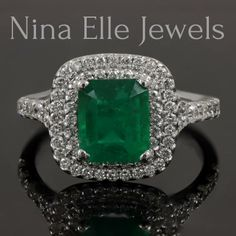 Emerald Cut Soleste Inspired Double Halo Engagement Ring EMR105 www.ninaellejewels.com