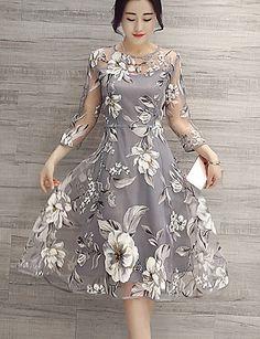 Mulheres Evasê Vestido,Casual / Tamanhos Grandes Moda de Rua Floral Decote Redondo Altura dos Joelhos Manga Longa…