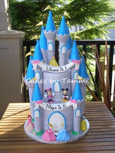 Disney Castle - These are & cakes covered in fondant, with 10 turrets from the Wilton Romantic Castle set, also covered in fondant. Banners are gumpaste, figures are not edible. I was really happy with how this turned out! Birthday Goals, Minnie Birthday, Minnie Mouse Party, Birthday Ideas, 5th Birthday, Mickey Mouse, Birthday Cake, Fairy Castle Cake, Disney Castle Cake