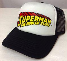 SUPERMAN MAN OF STEEL TRUCKER HAT Curved-Bill White/Black/Yellow Men/Women/Teen #Superman #Trucker