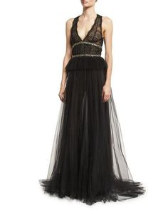 MONIQUE LHUILLIER Sleeveless V-Neck Tulle Peplum Gown, Noir. #moniquelhuillier #cloth #