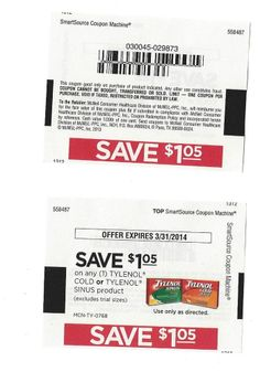 10 Coupons Save $1.05 on (1) TYLENOL Cold or Tylenol SINUS Product   3/31/2014