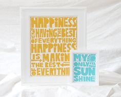 HAPPINESS Inspiratioanl Quote Print Raw Art Letterpress  Posters and Prints, Wall Art, Kitchen Art, Nursery art print. $20.00, via Etsy.