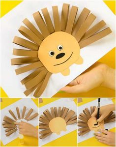 Easy tutorials to make a super cute hedgehog! Creative Crafts, Easy Crafts, Diy And Crafts, Paper Crafts, Craft Projects For Kids, Diy For Kids, Cute Hedgehog, Paper Embroidery, Sunday School Crafts
