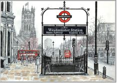 Hertfordshire artist Renos Lavithis creates incredible artwork and drawings depicting London landmarks: Westminster Station, History Of England, London Landmarks, Fleet Street, Detailed Drawings, Life Magazine, Exhibitions, New Books, The Incredibles