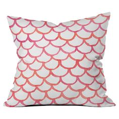 Add a pop of color to your favorite chaise or arm chair with this eye-catching pillow, showcasing a scalloped motif in white, pink, and orange.