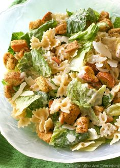 This Bowtie Chicken Caesar Salad is a great salad for a crowd. A way to bulk up a salad is to add cooked pasta to it! Try this Bowtie Chicken Caesar Salad and you'll never Chicken Caesar Pasta Salad, Pasta Salad Recipes, Chicken Pasta, Salad With Chicken, Healthy Pasta Salad, Beef Pasta, Thai Chicken, Chicken Seasoning, Rotisserie Chicken