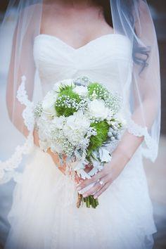 A woodland inspired white & green wedding bouquet: http://onthegobride.com/2015/02/beautiful-woodlands-resort-wedding-pennsylvania/     http://www.jennigracephotography.com/