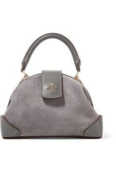 Manu Atelier - Demi Leather-trimmed Suede Shoulder Bag - Gray