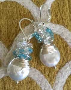 Handmade pearl earrings with crystal rondelles