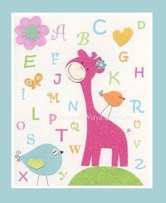 ABC bright pink giraffe nursery art.  I LOVE THIS!!!! :)