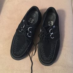 Black suede creepers/platform Suede creepers shoes in black from T.U.K. Size us 6 but runs large (more like a women's 8 or 9) Only worn a few times with little to no damage. T.U.K Shoes Platforms