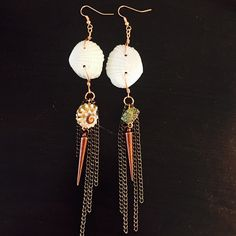 aaseagypsy jewels; seagypsy white shell give um hell spear and shell jangle dangle mermaid earrings;