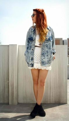 Denim and lace.