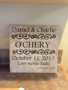 Wedding Decoration, 12x12 ceramic tile monogramed with black vinyl.