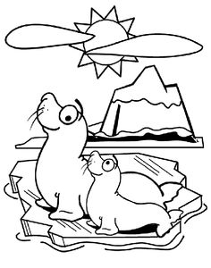 Enjoy coloring these seal friends having fun in the sun! A printable coloring page perfect for a child's art activity.