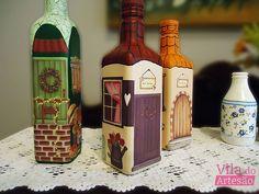 Tutorial Vila do Artesão - Como decorar uma garrafa com decupagem e pintura