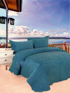 3 Pcs Solid Turquoise Super Soft Embroidery Bedspread Quilt Coverlet King Queen #big7 #AntiqueStyle