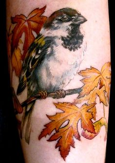 Hate tattoos with birds on a branch that just... Stops. So I like the way the leaf kinda covers that up and stops it looking silly