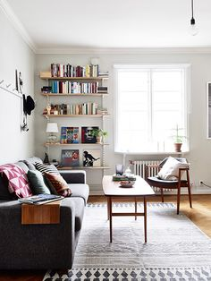 small room mid-century styling - living room