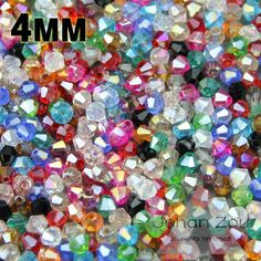 High quality 4mm 100pcs AAA Bicone Austrian crystals loose beads ball supply AB color plating ,bracelet necklace Jewelry Making