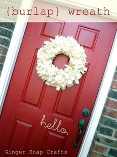 """Burlap wreath tutorial.  Really easy, just made for my front door.  The cheaper burlap works just fine, but be warned, it is messy.  Also, I cut my strips 1 1/2"""" wide, not one inch.  Really pretty!"""