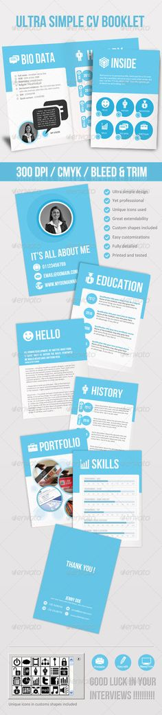 Professional CV Booklet Brochures, Cv template and Resume cv - professional cv