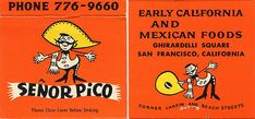 Mexican Restaurant, Matchbook, San Francisco California, Senor Pico