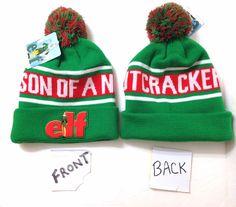 a867745f2e1 SON OF A NUTCRACKER POM BEANIE Elf Movie Quote Will Ferrell Winter Knit Hat  OSFM  NewLineCinema  Beanie
