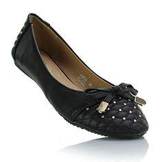 VIVA Damen Black Flat Bow & verzierte Niedrige Ferse-beiläufige Ballerinas Ballerinas - http://on-line-kaufen.de/sole-affair/viva-damen-black-flat-bow-verzierte-niedrige