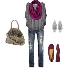 Cute jeans, top and shoes. Scarf and earrings so-so. Hate that purse