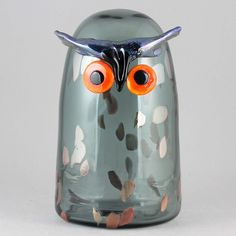 """Oiva Toikka's lovely """"Long-eared owl"""" (Sarvipöllö) glass bird with rounded form, smokey blue color, and attentive expression. Mouth-blown and hand crafted glass art from Iittala in Finland. Long Eared Owl, Glass Birds, Glass Art, Display, Ceramics, Artist, Collection, Design, Floor Space"""