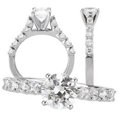 Custom Made *18k White Gold Cathedral Style Engagement Ring Semi-Mount With Diamond Shank, Holds 6.5mm Round Center Stone