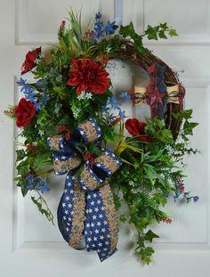 Patriotic Door Wreath 4th of July Wreath Americana