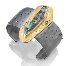 Long opal cuff by Sydney Lynch Gypsy Jewelry, Jewelry Art, Gemstone Jewelry, Jewelry Design, Silver Jewelry, Stylish Jewelry, Modern Jewelry, Unique Jewelry, Mixed Metal Jewelry