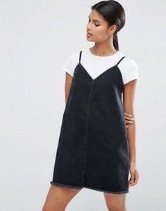 Denim Mini Slip Dress in Washed Black with Raw Hem