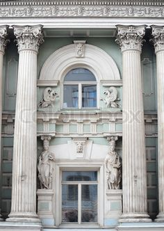 Image of 'Roman Greek Architecture Design In Window Of a Building'