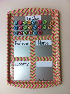 "A metal tray and magnets serve as a ""Where Are We? This is just one of 29 clever organization hacks for elementary school teachers. Simple to use, easy to make, and a genius way for tracking students. Classroom Organisation, Teacher Organization, Classroom Management, Organization Hacks, Behavior Management, Behavior Tracker, Center Management, Behavior System, Organized Teacher"