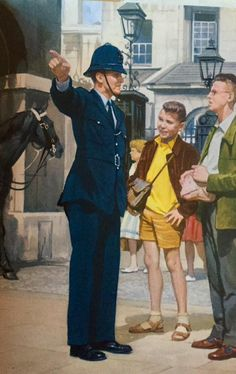 Policeman helping lost people - The Policeman - LadyBird Books 1962 Police Box, Police Officer, Police Cars, London Illustration, London Police, Lost People, Ladybird Books, Police Uniforms, Retro Images