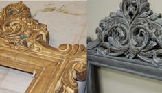 Wood carved mirrors painted in dark brown chalk based paint with a medium grey wash on top.